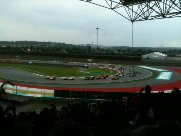 Turn 1, Lap 1 of the Malaysian Grand Prix 2012
