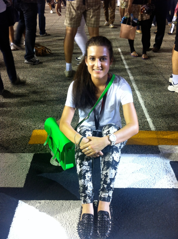 Post race, sitting on the finish line