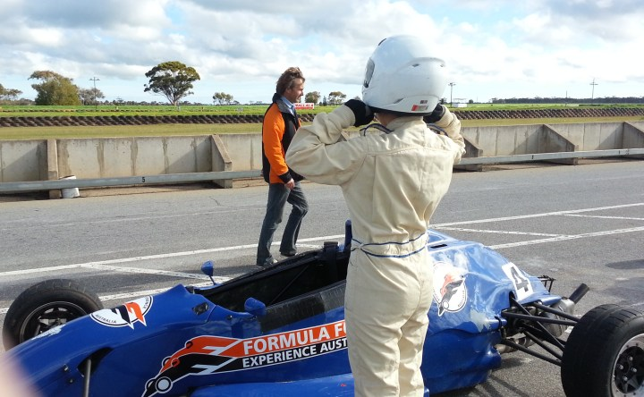 Alelbuth goes to track in a Formula Ford car