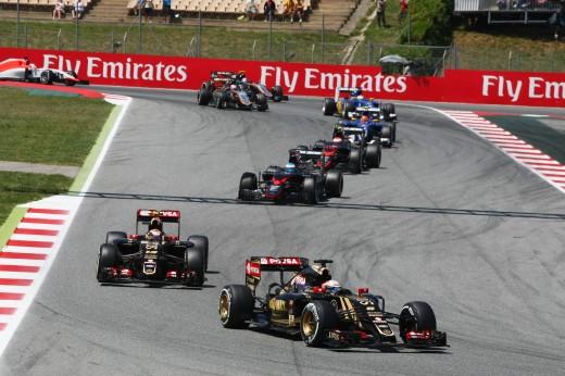 Romain Grosjean (FRA) Lotus F1 E23 leads team mate Pastor Maldonado (VEN) Lotus F1 E23. Spanish Grand Prix, Sunday 10th May 2015. Barcelona, Spain.